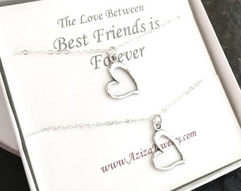 BFF Heart Necklaces. Best Friends Forever Hearts Necklace Gift Set. Matching Sterling Silver Heart Necklace Set. Valentines Day Necklace Set