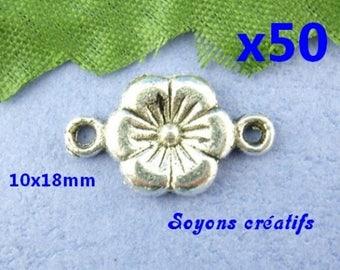 Lot 50 10x18mm Silver Flower connectors