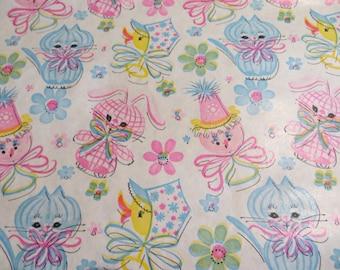 Vintage Gift Wrap-Wrapping Paper-Birthday-Children-Shower-Baby-Animals-Pastels-Retro-Mid Century-Kittens-Bunnies
