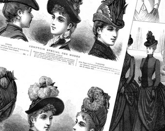 Victorian fashion and accessories PDFs - 1887 Winter Parisian store catalog - instant download