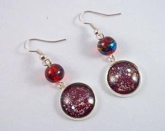 Red Pearl (hooks or clips) and silver glittery Burgundy cabochon earrings