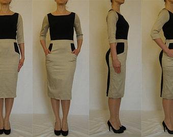 SALE Wonderful navy, beige, pencil, comfortable, elegant, casual  dress with side pockets Size UK 12, 14 / US  8, 10