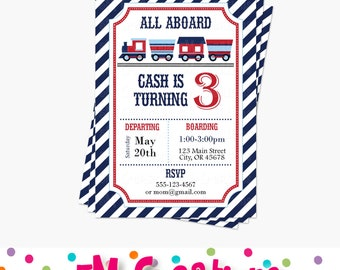 Train Birthday Party Invitations - Train Birthday Party Printable Invite - Boy Party Invitations - Train Baby Shower Invitation - Red Navy