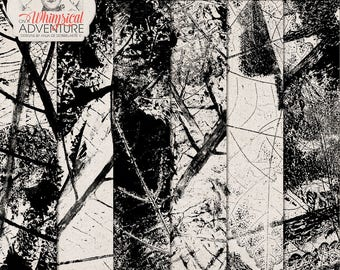 Stamped Leaves, Hand Made Transparent Overlays, Commercial Use OK, Leaf Nerves, Instant Download, Black Acrylic Paint, Organic Textures