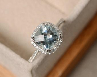 Aquamarine engagement ring, cushion cut, sterling silver
