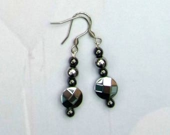 Silver plated and black haematite earrings