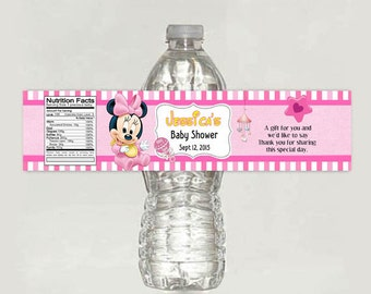 Baby Minnie Mouse Baby Shower water bottle label