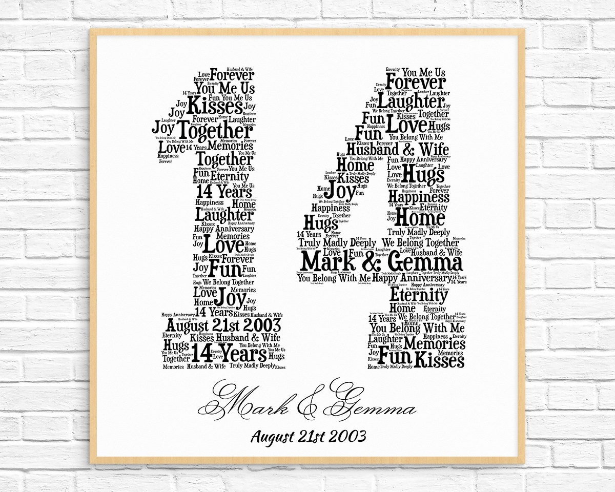 13th Wedding Anniversary Gifts For Her: PERSONALIZED 14TH ANNIVERSARY Gift Word Art Printable Art