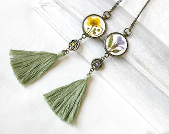 Green tassel necklace Boho necklace for her Real flowers necklace Long bohemian necklace for aunt Gift for sister necklace tassel jewelry
