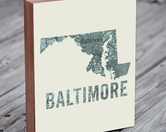 Baltimore - Baltimore Art - Baltimore Maryland - Baltimore Map - Baltimore Map Art - Wood Block Wall Art Print