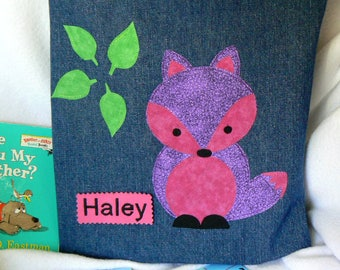 Fox Book Bag|Kids Personalized Book Bag|Toddler Pink Purple Bag|Children's Book Bag|Birthday Party Gift|Library Book Bag|Preschool Book Bag