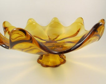 Vintage Viking Glass Bowl Mid Century Eight Petal Pedestal Footed Fruit Bowl Amber Glass Made in USA
