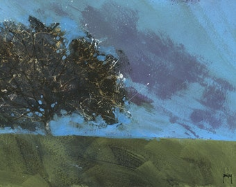 Original abstract landscape painting - Moorland hawthorn