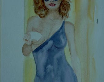 watercolor a sexy woman, do you want coffee?