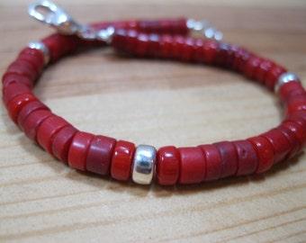 Red Coral Heishi, Sterling Silver Bracelet, Native American Bracelet,  Heishi Bracelet, Mens Beaded Bracelet, Ethnic Bracelet
