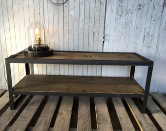 Wood and steel industrial tv bench