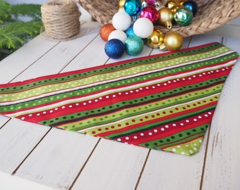Modern Holiday Dog Scarf-Bandana in Shades of Red and Green