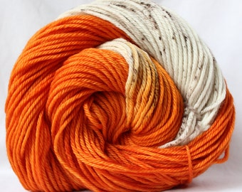 Hand dyed yarn, orange / cream / brown yarn, speckled yarn, variegated yarn, fingering weight, worsted bulky  weight, superwash wool, 100g
