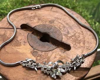 Vintage Trifari Rhinestone Necklace with Snake chain