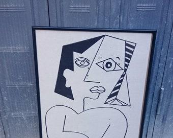 Cubo 30/40 cm, sold framed, ink