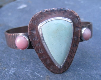 Oxidized Copper Cuff with Variscite and Pink Coral, Green and Pink Gemstones Rustic Boho Cuff Bold Statement Cuff