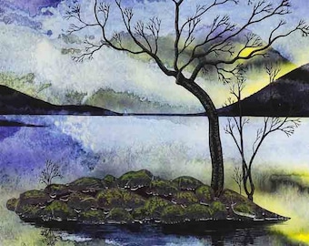 """Art Print: """"Equinox"""" -  A3 landscape print, wall art, island painting, tree print, water painting, blue yellow,from a painting by Liz Clarke"""