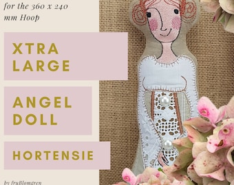 XTRA Large Angel Doll HORTENSIE, ITH Machine Embroidery Design for the very big hoop, approx. 34 cm tall, double-sided softie + 4 wings