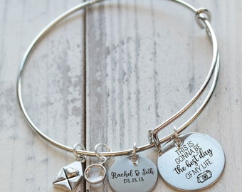 The Best Day Personalized Wire Bangle Bracelet