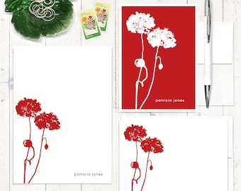 complete personalized stationery set - POPPIES - personalized stationary set - note cards - notepad - choose color
