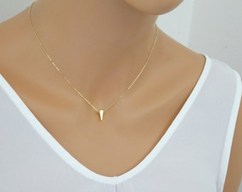 Ultra Delicate triangle necklace, Gold, Silver, Rose gold floating triangle pendant, Simple bridesmaid jewelry gift