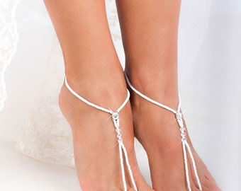 White Beaded barefoot sandals, Feet jewelry, Beach wedding Barefoot Sandals, Accessories, Feet Thongs, Footless sandals, Ankle Bracelet,