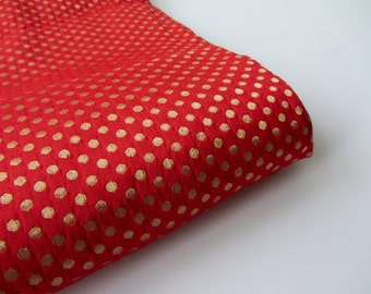 Red gold polka dot silk brocade fabric nr 713
