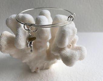 sea glass Maine lobster charm adjustable bracelet , lobster sea charm, bangle bracelet, beach wedding, bridal bridesmaid wedding jewelry