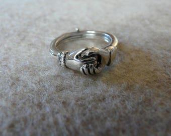 Antique Sterling Silver Fede Gimmel Ring, Size 5