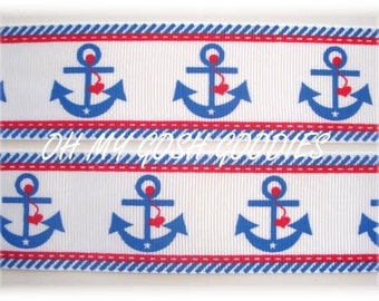 "AHOY MATE ANCHORS Grosgrain Ribbon 7/8"" & 1.5"" - 5 Yards - Oh My Gosh Goodies Ribbon"