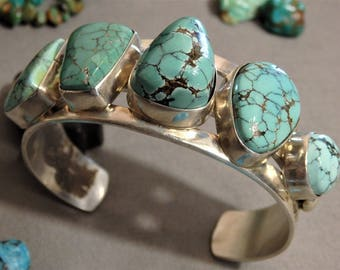 Big Chunky 64G NAVAJO Benally Number 8 TURQUOISE Stamped STERLING Silver Cuff Bracelet Signed 800.  or best offer