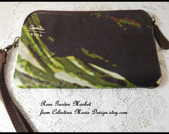 Leather Wristlet Wallet Clutch, Dark Leather Leaves Design, Hand Painted Design, Custom, Original, Removable Wrist  Strap, ECS