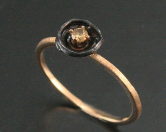 Yellow Diamond Oyster Ring--Recycled 14K Yellow Gold and Oxidized Silver--Go Steelers--Unique Yellow Diamond Ring--Nest Design--Great Gift