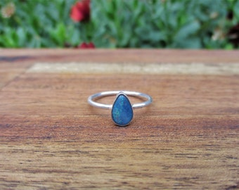 Australian Opal Ring / Sterling Silver Ring / Opal Doublet Ring / Blue Opal Ring / Opal Stacking Ring / Opal Stack Ring / Natural Opal Ring