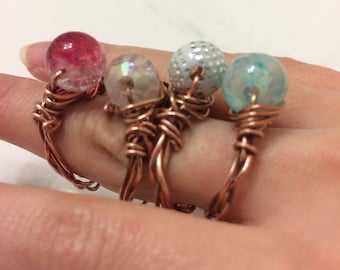 wire ring copper ring bead adjustable sizes