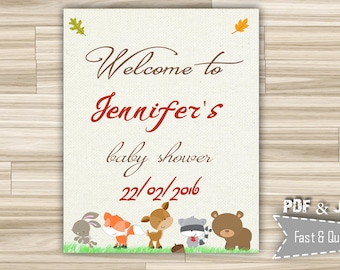 Woodland Welcome Sign Baby Shower - Welcome Baby Shower Sign Brown - Printable Welcome Baby Sign Forest Animals - Custom Baby Sign - w1