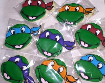 Teenage Mutant Ninja Turtle Cookies - 1 Dozen (12 Cookies)