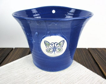 "Blue Butterfly Ceramic hanging wall planter Flower Pot, 7.5"" x 6"", pottery flower pot with butterfly"