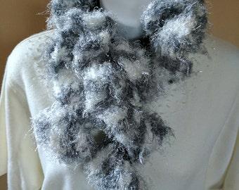 Ruffled Fancy Scarf Crocheted in Fluffy Black, Gray & White Yarns
