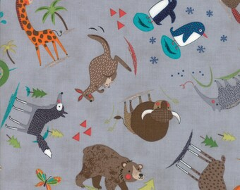 Hello World Wild Things animal fabric in Grey by Abi Hall for Moda Fabric #35301-19