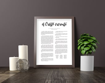LDS Family Spanish Print, el cristo viviente, The Living Christ, Home Quote, Welcome Print, Welcome Poster