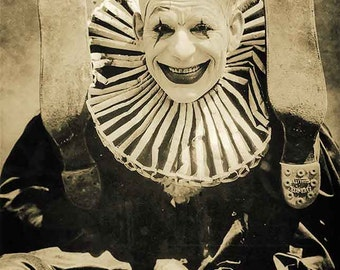 Creepy clown photo weird photo strange vintage scary clown photograph antique photo 1940s poster wall art PRINT