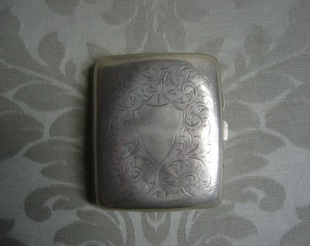 Silver plated and engraved cigarette case
