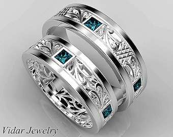 His and Hers Matching Diamond Wedding Bands