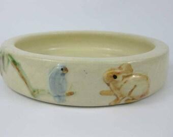 Vintage Weller Art Pottery Low Bowl Bird~Rabbit~Palm Tree Circa 1930's